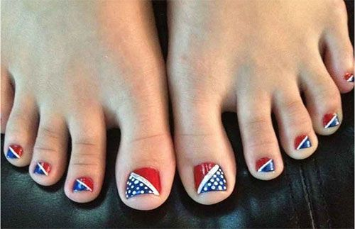 4th July Toe Nail Art Designs To Bend Light