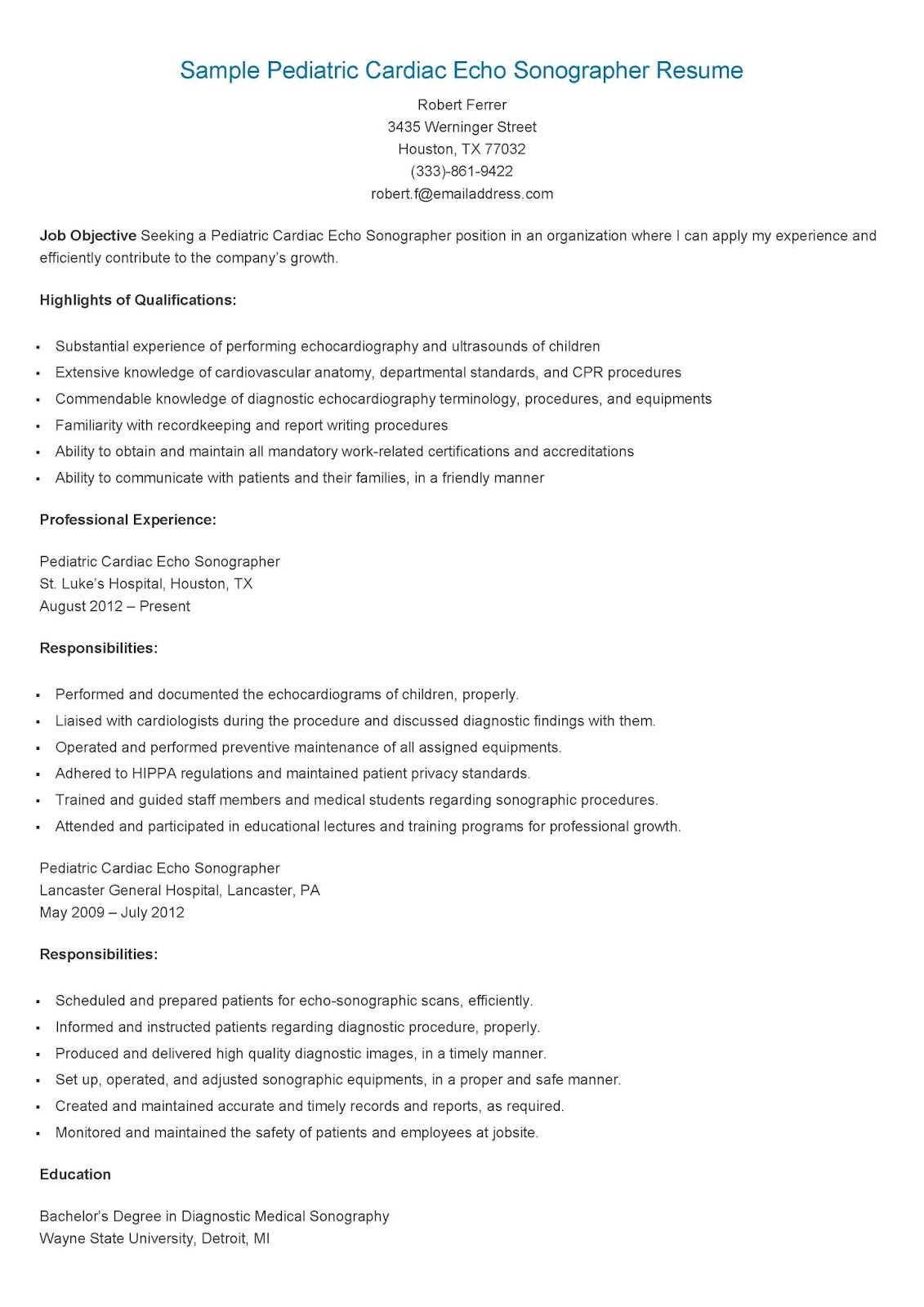 sample pediatric cardiac echo sonographer resume