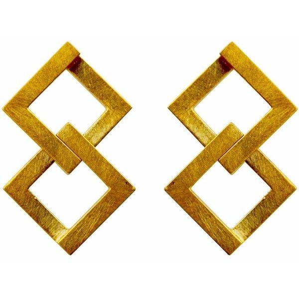 Helen Rankin - Geom Balance Earrings Gold Vermeil (€165) ❤ liked on Polyvore featuring jewelry, earrings, accessories, geometric earrings, square stud earrings, chunky earrings, gold vermeil jewelry and square earrings