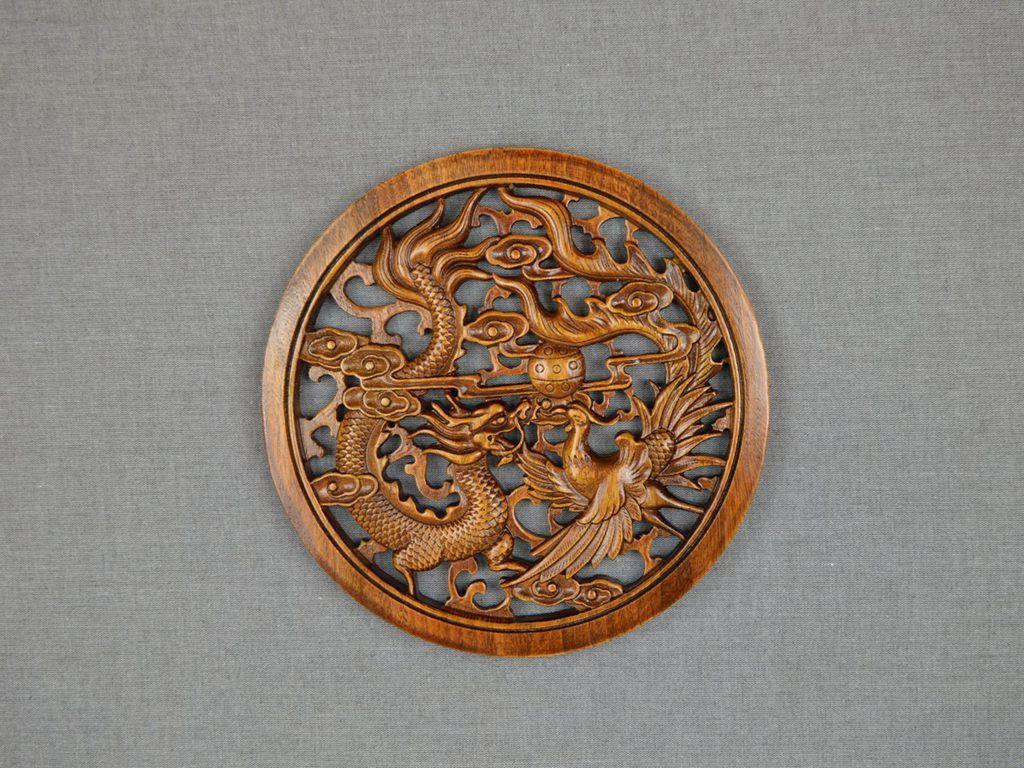 Chinese phoenix dragon wood sculpture | Wood sculpture, Wall ...