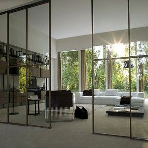 Partitioning doors, glass, blackened steel