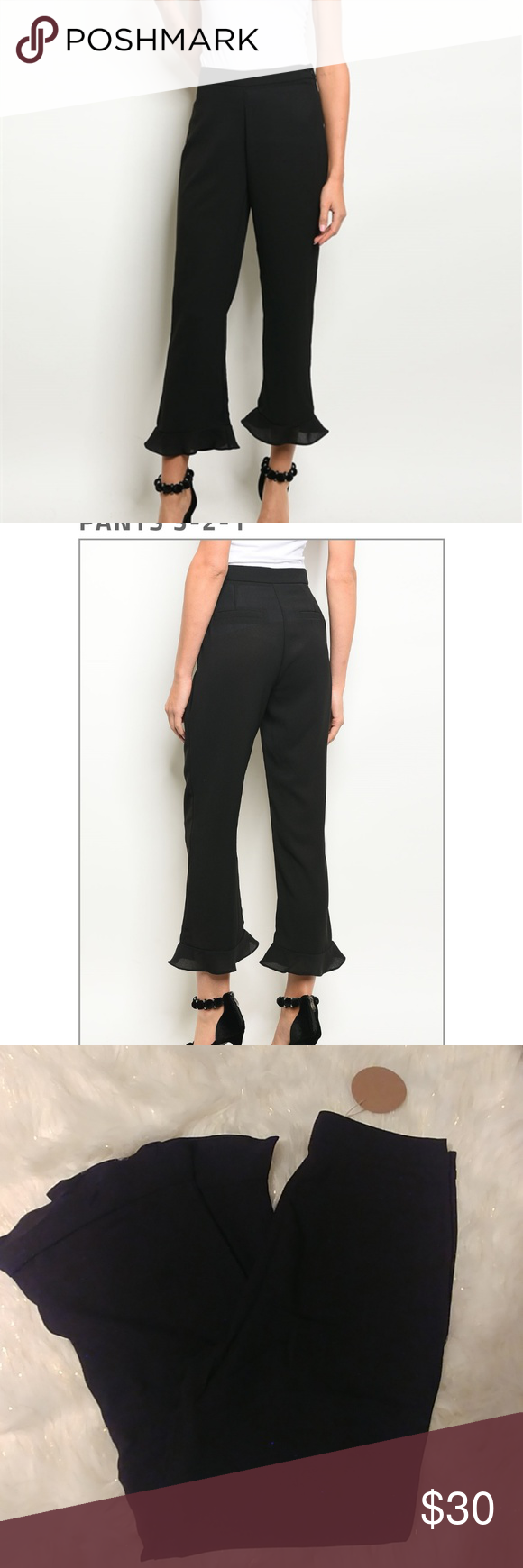 Hp Black Ruffled Bottom Dress Pants Ruffle Bottom Dress Leggings Fashion Black Dress Slacks [ 1740 x 580 Pixel ]