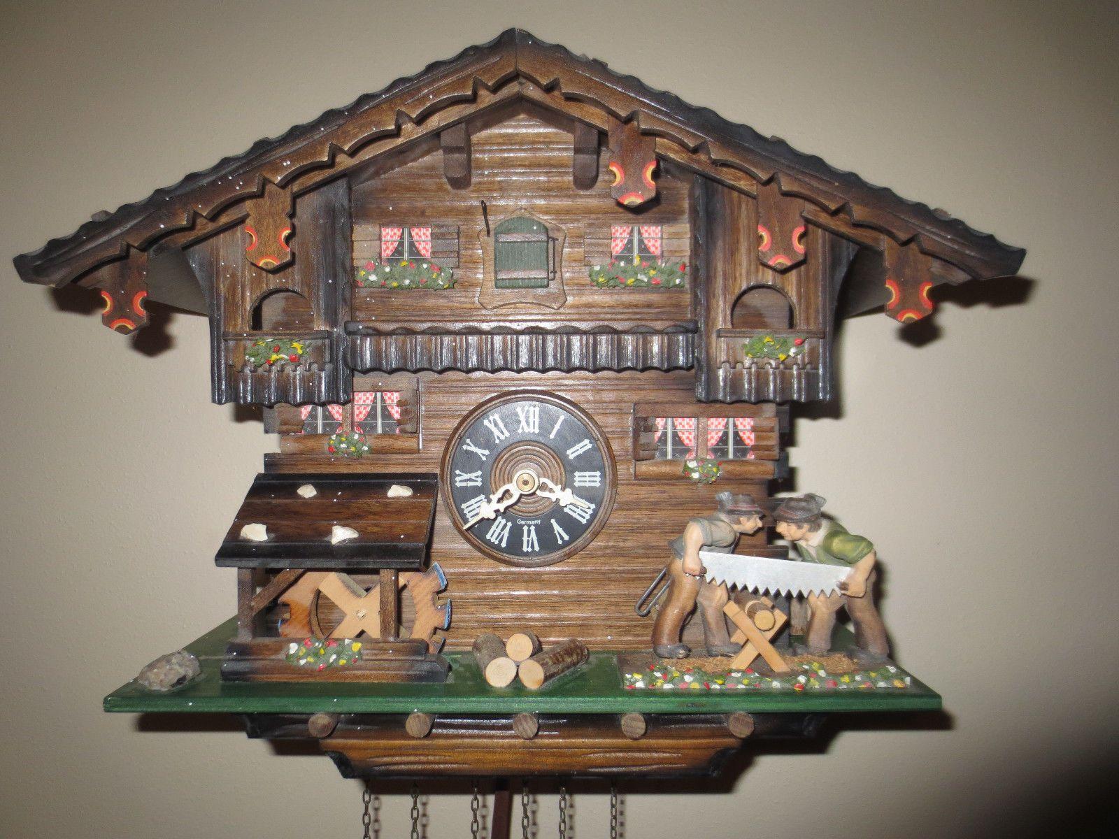 Hones German Chalet 1 Day Musical Cuckoo Clock Waterwheel Saw Men Black Forest Ebay Clock Cuckoo Clock Black Forest