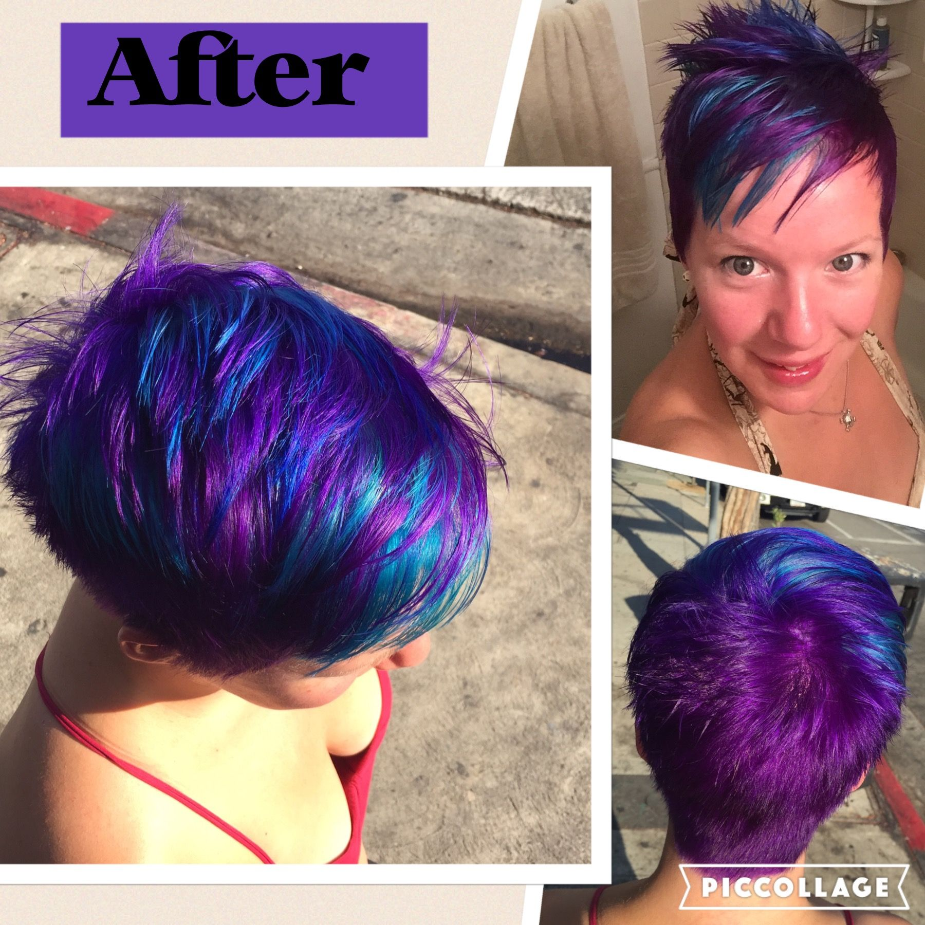 Mermaid rainbow hair purple blue teal Pixie short hair length