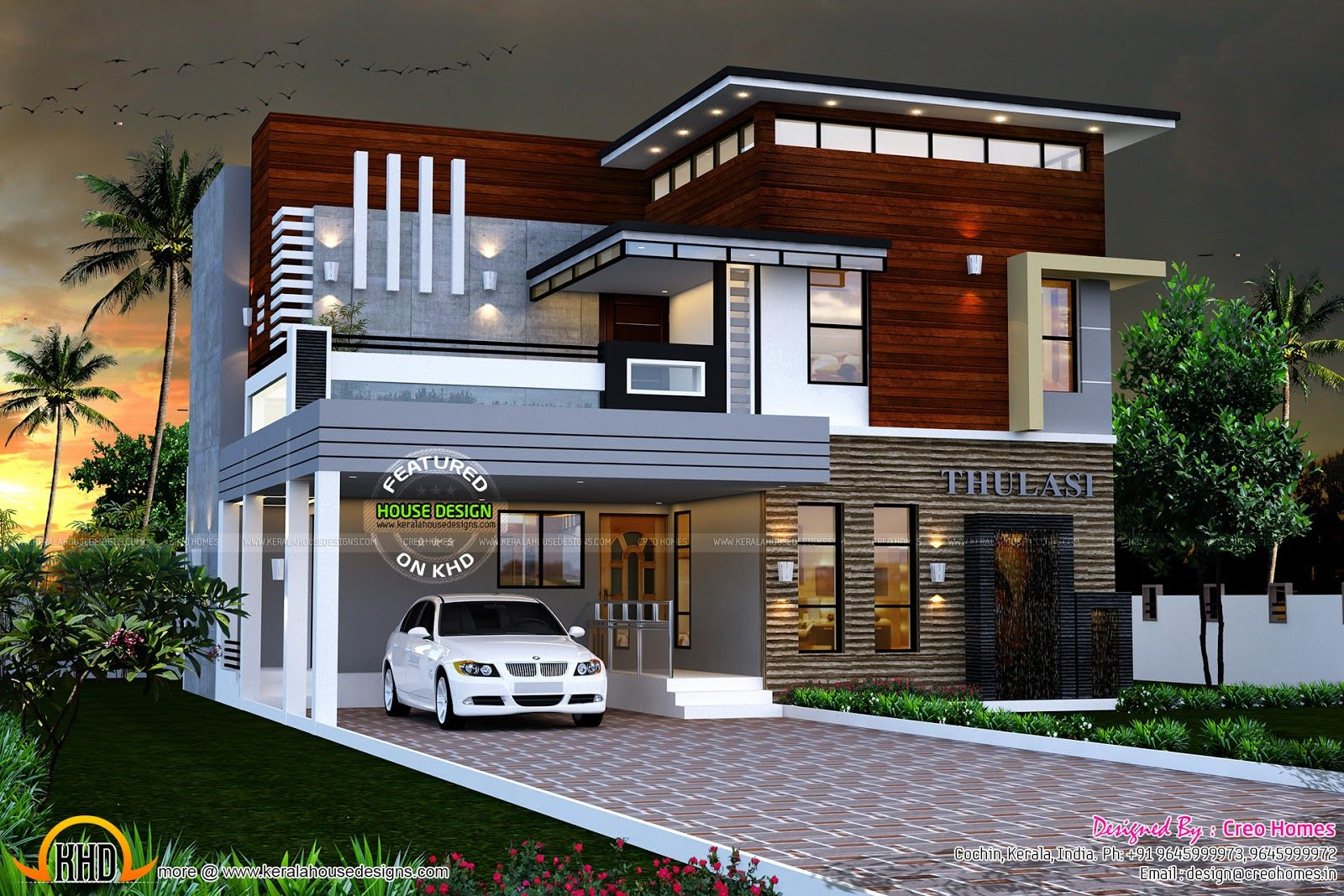 Eterior design modern small house architecture building for Kerala house plans with photos free