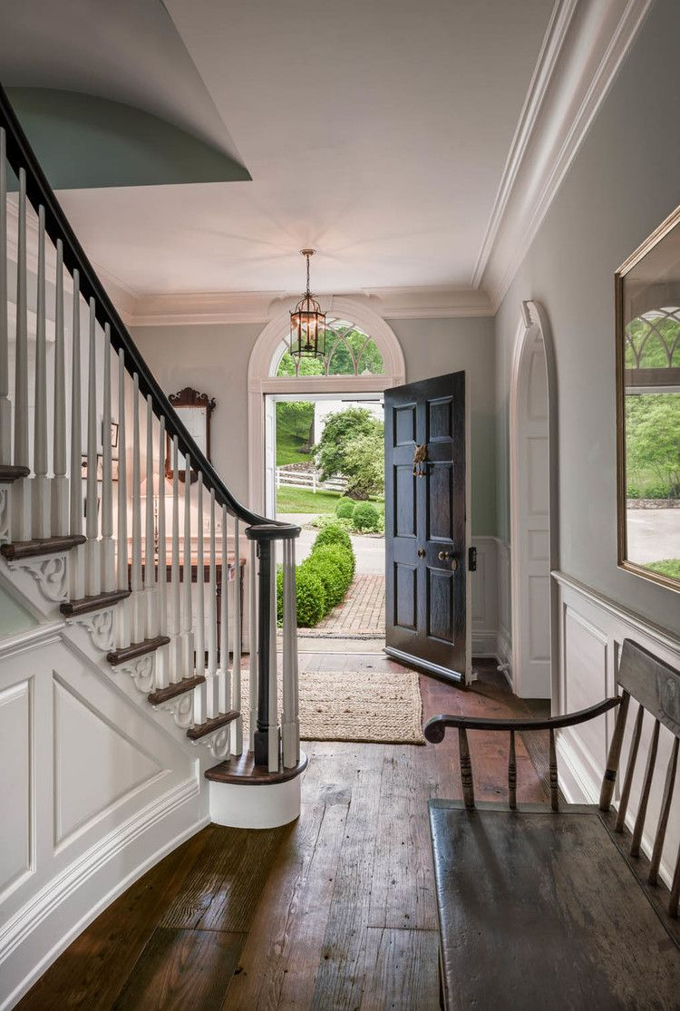 Best Double Doors Instead Of Single Wainscoting And Detail On Stairs Foyer Decorating Colonial 400 x 300