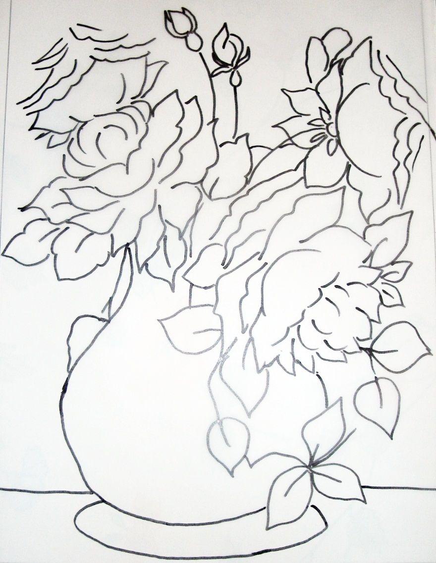 Rosas Na Tela Riscos Para Pintura Flores Pintadas Producao De Arte
