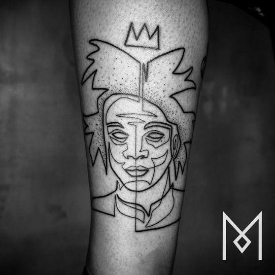 Mo Ganji Berlin Germany Basquiat Portrait Custom Single Line Tattoos One Tattoo Per Traveler Always Respect And Never Mo Ganji Tattoos Left Arm Tattoos