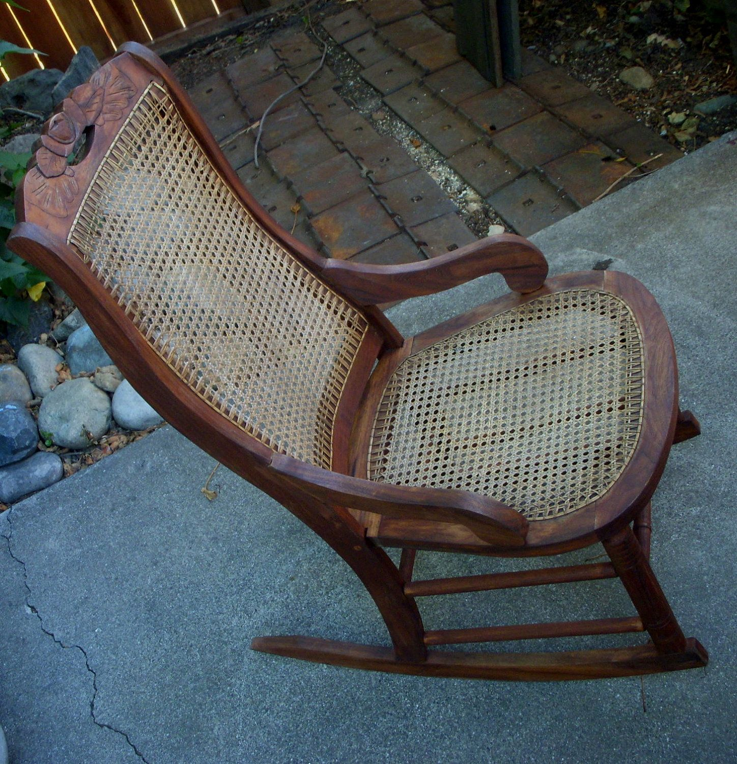 Antique Rocking Chair - Wood and Cane Seat - LOCAL pick up or delivery  only. $400.00, via Etsy. i have one very close to this in the attic. - Antique Rocker, Vintage Rocking Chair, Cane Seat, Antique Chair