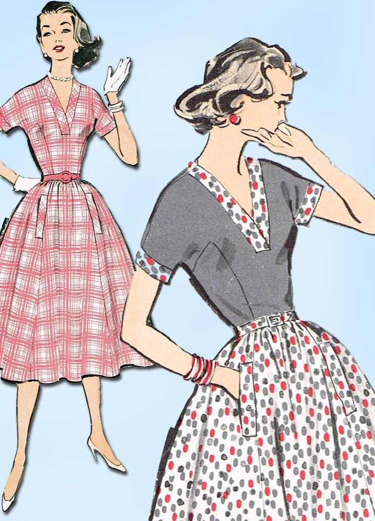 1950s Vintage Advance Sewing Pattern 8603 Charming Uncut Misses ...