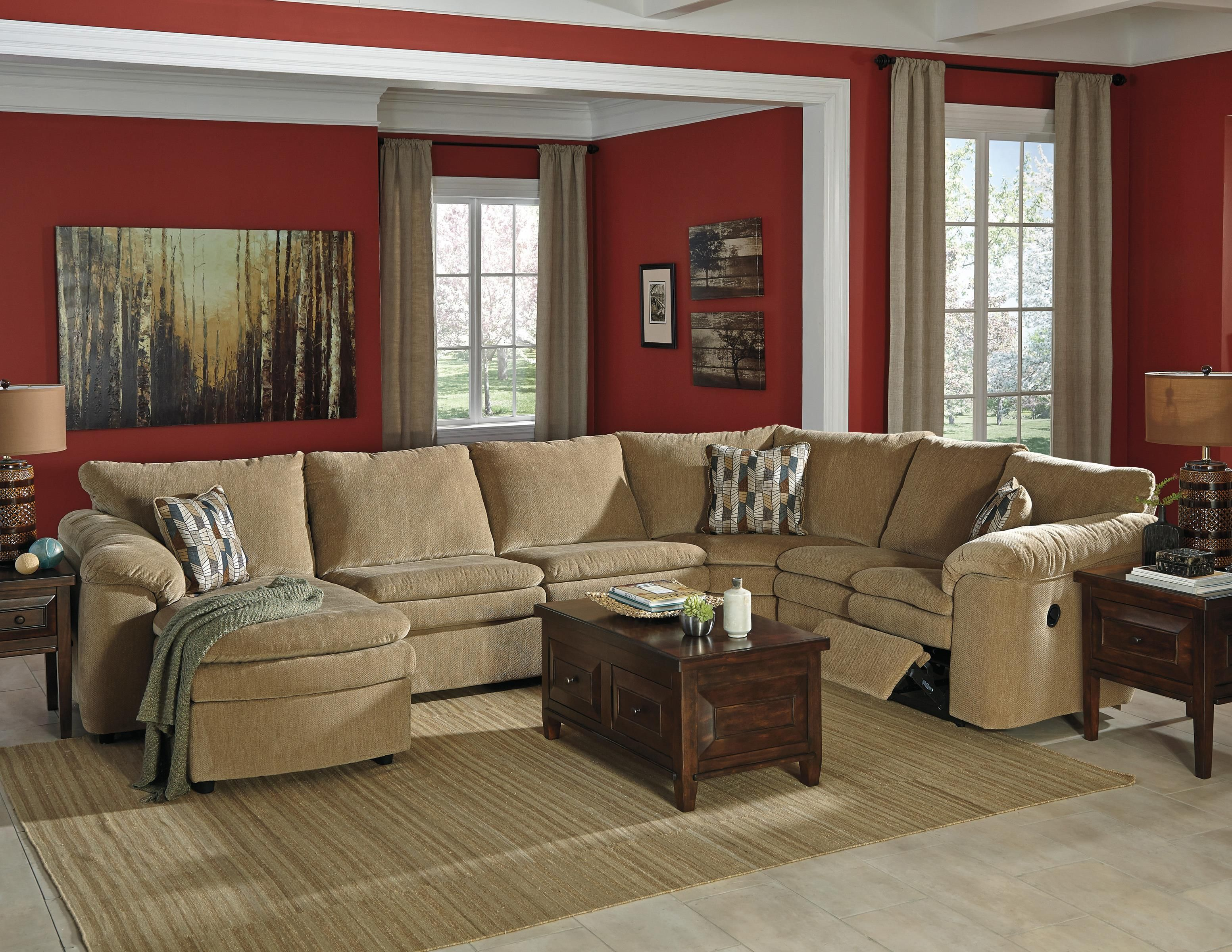 Casual Contemporary 4-Piece Reclining Sectional with Left Chaise : exhilaration sectional - Sectionals, Sofas & Couches