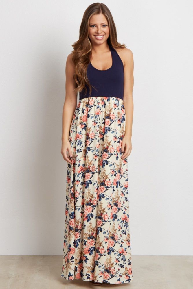 31cdac54b7140 Navy Blue Colorblock Floral Bottom Maternity Maxi Dress | Gender ...
