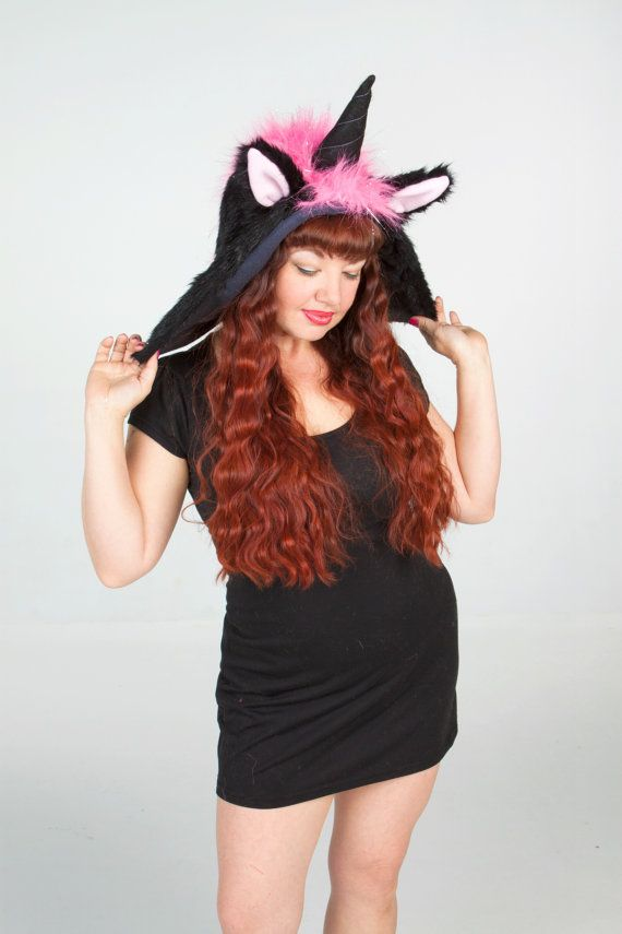 Black and Pink Sparkly Furry Unicorn Hat Hood Animal Hat Costume This hood  style hat is made of a black fake fur and is lined with black fleece. c1b9816330d
