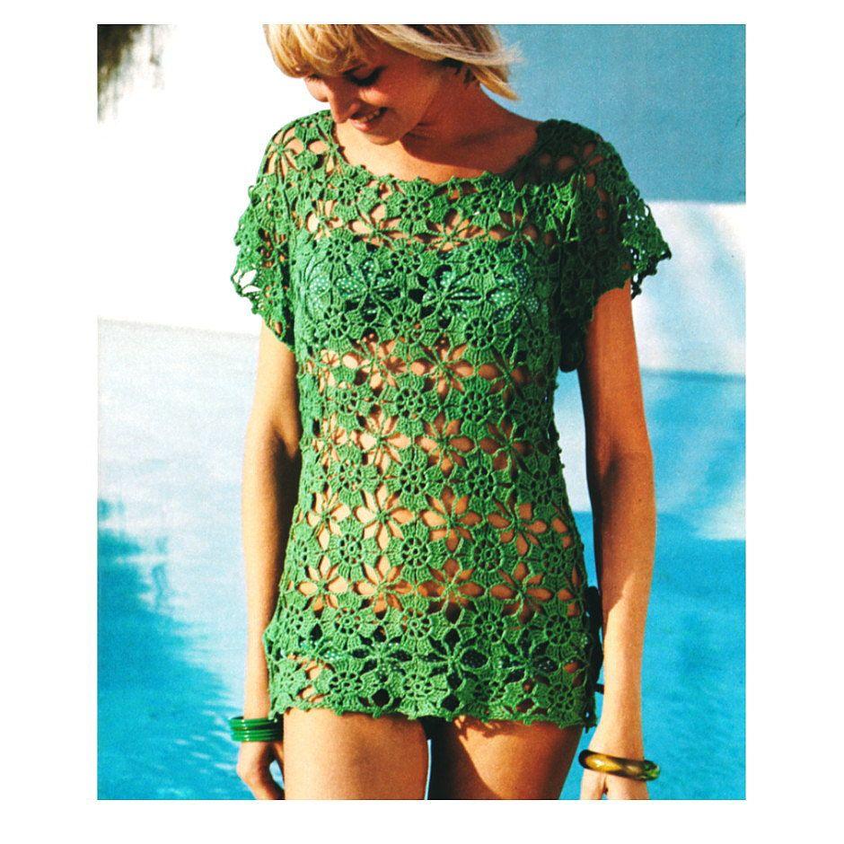 Vintage 1970s crochet pattern lacy flower beach cover up mini crochet tunic pattern bankloansurffo Gallery