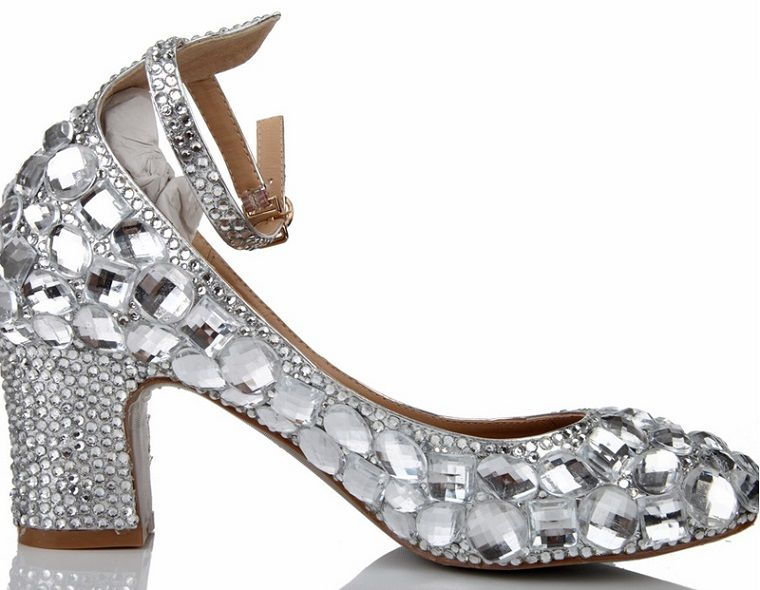 Exclusive Bridal Shoe Silver Rhinestone Wedding Shoes Prom Party Genuine Leather Ankle Straps