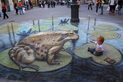 Julian Beever's 3D sidewalk painting <3