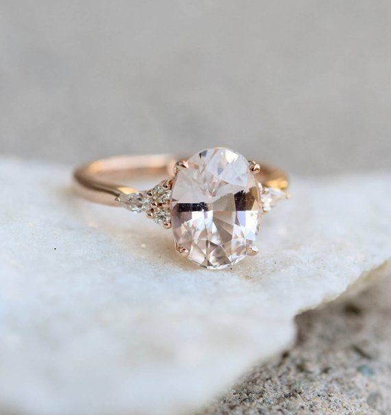 Peach Sapphire Engagement Ring Light Peach Champagne Sapphire Oval