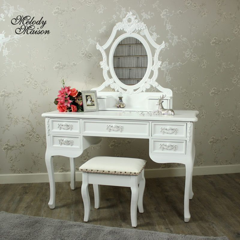 Pays Blanc Range - Antique White Dressing Table, Ornate Mirror and - Bobs Furniture Bedroom Sets