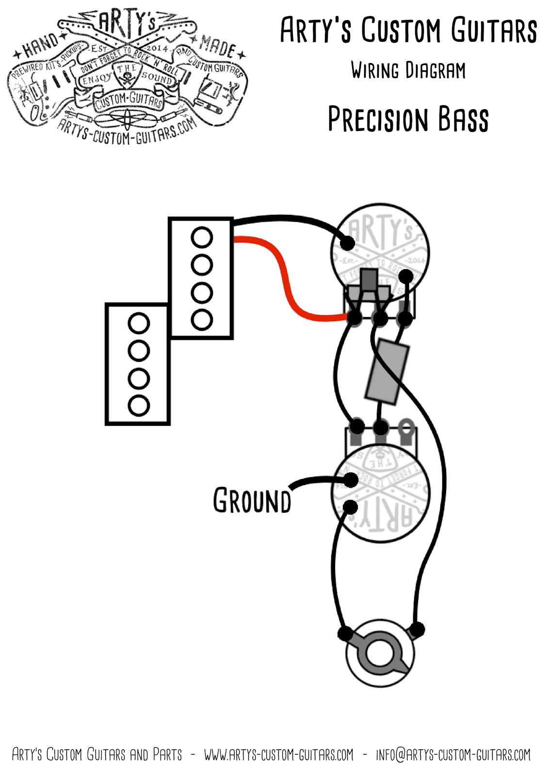 Artys Custom Guitars Vintage Wiring Prewired Kit Diagram Switch In Addition Les Paul Harness Assembly Precision Bass P