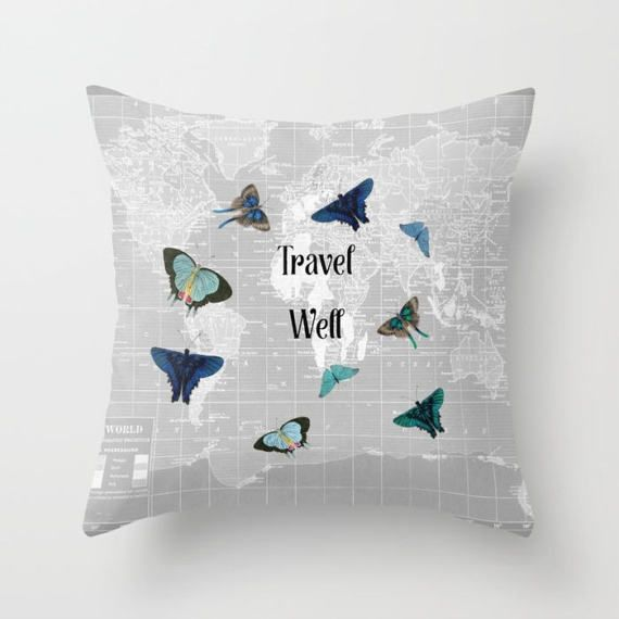 World map throw pillow travel well travel quote fun by mapology world map throw pillow travel well travel quote fun by mapology gumiabroncs Images