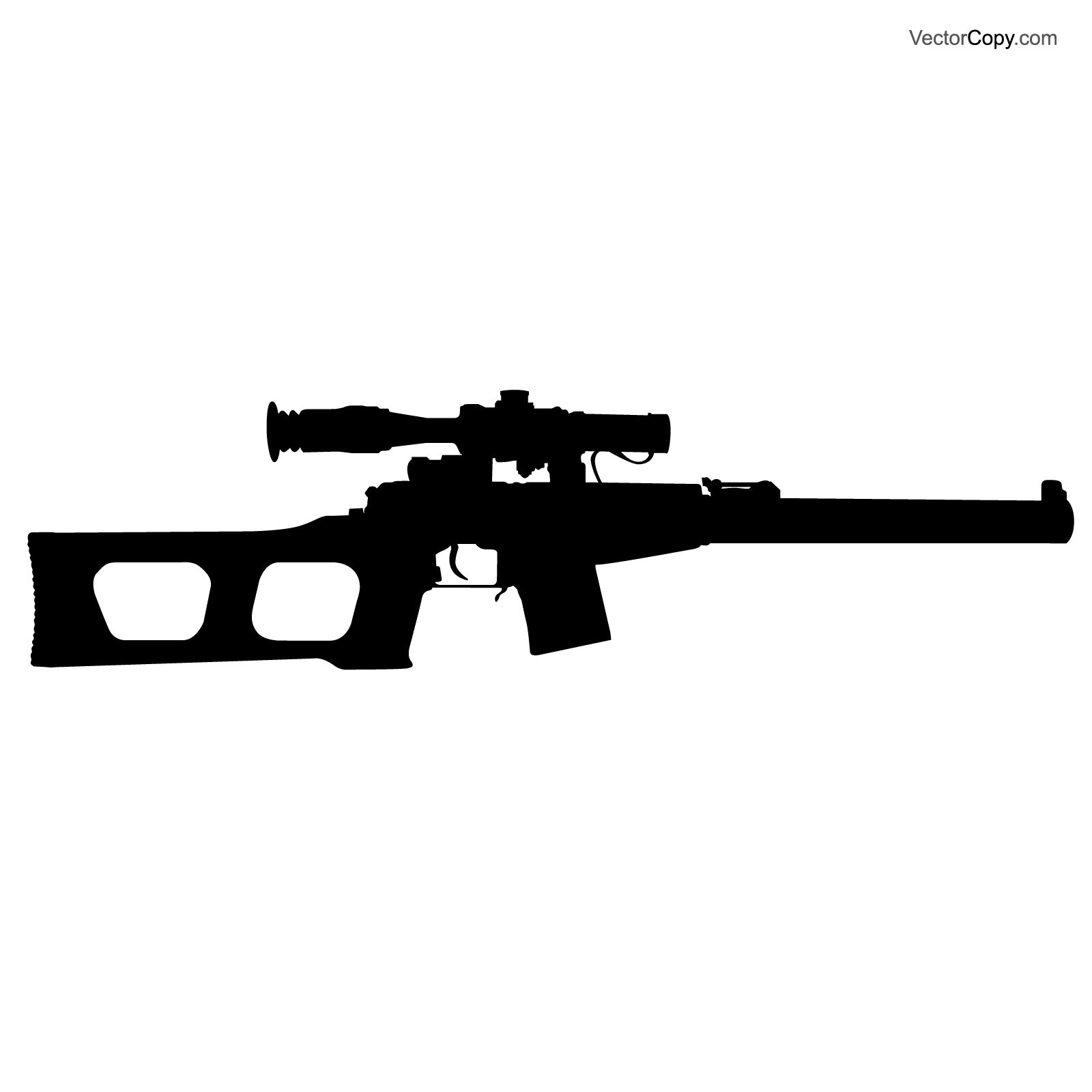 Silhouette Of Ussr Sniper Rifle Free Vector