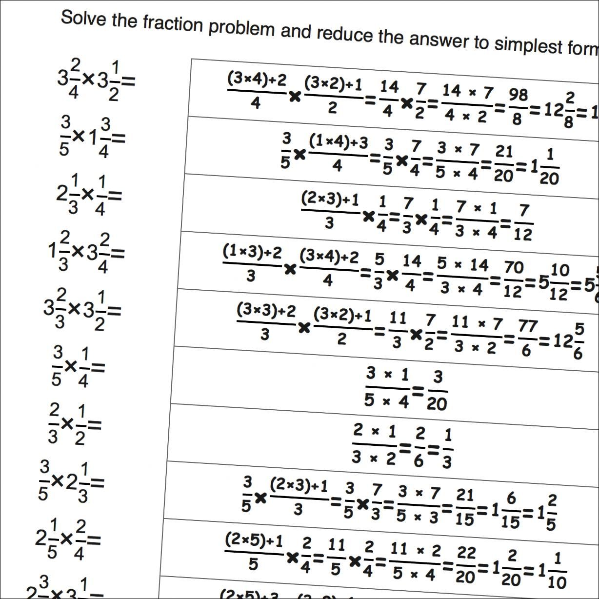 Math Worksheets Fraction Multiplication Worksheets With Whole Numbers Detailed Answers
