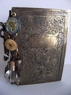 amazing etched book made with Tim Holtz stamp