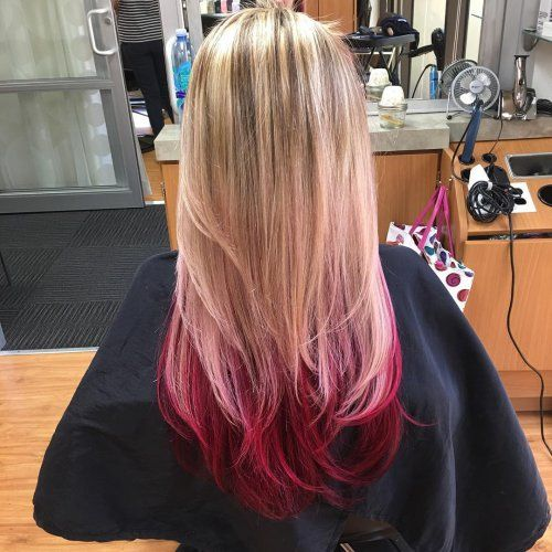 Reverse Ombre Hair Color Blonde Hair With Red Tips Reverse Ombre Red Hair Tips