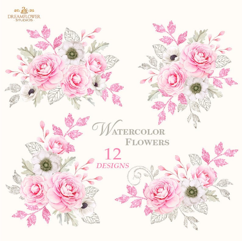 Watercolor Flowers Clipart Watercolor Roses Clipart Pink and Silver Roses Bouquet Clipart Floral Elements Png Digital Flowers Peonies