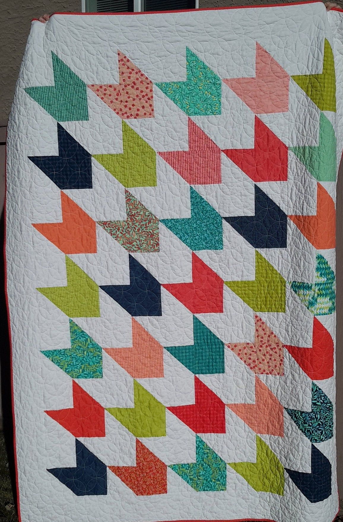 Modern Twinsize Girls Quilt in Bright Colors Twin quilt