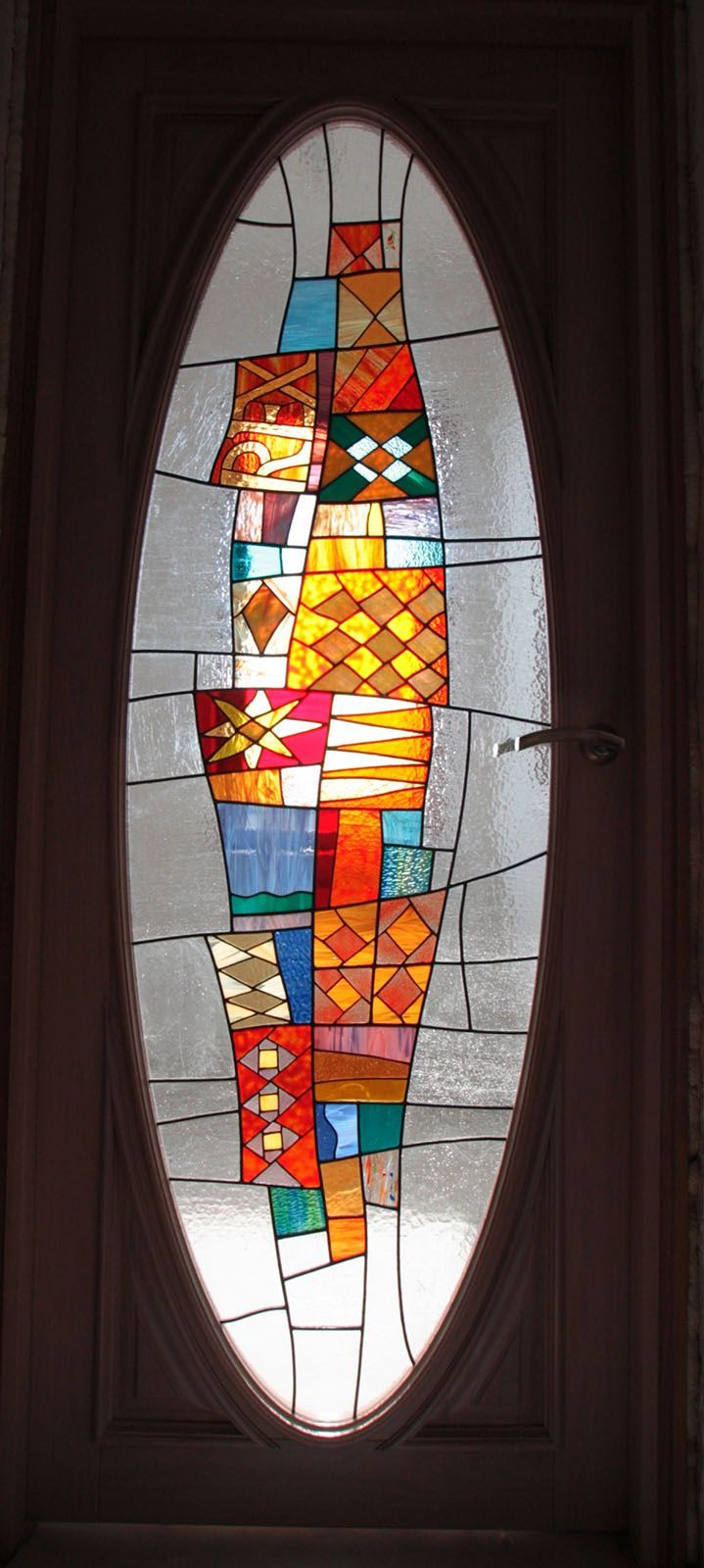 Decorative Kaleidoscope Stained Glass Door