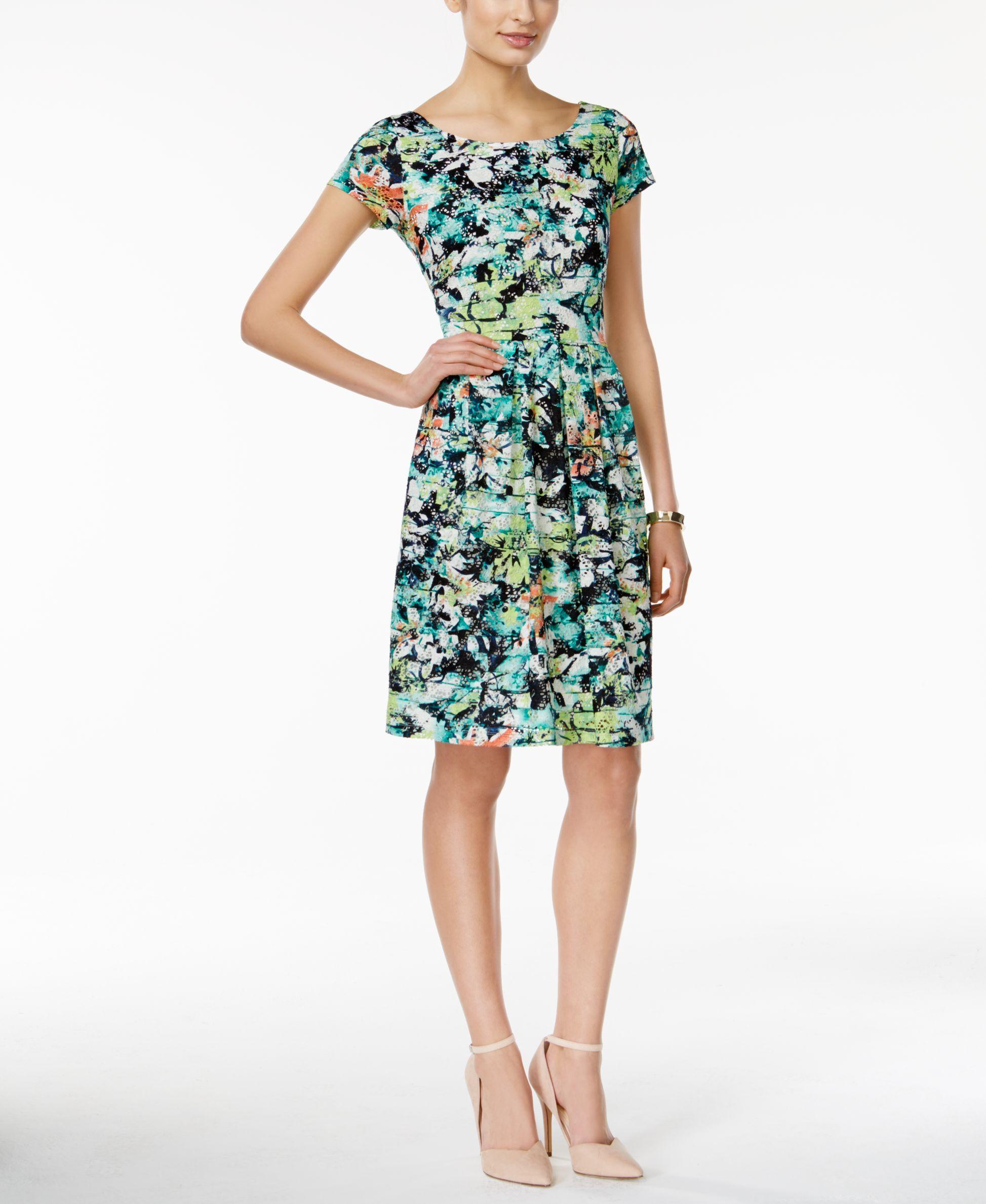 Ronni nicole capsleeve printed lace aline dress