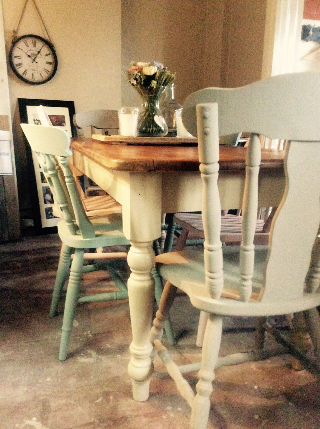 Gorgeous reclaimed pine rustic country cream 6 seater for 12 seater farmhouse table