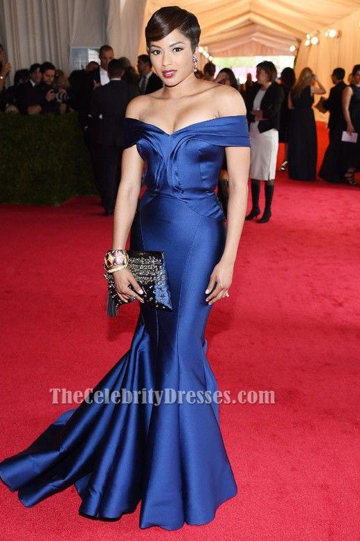 Alicia Quarles Blue Mermaid Off The Shoulder Formal Dress 2017 Met Gala Red Carpet