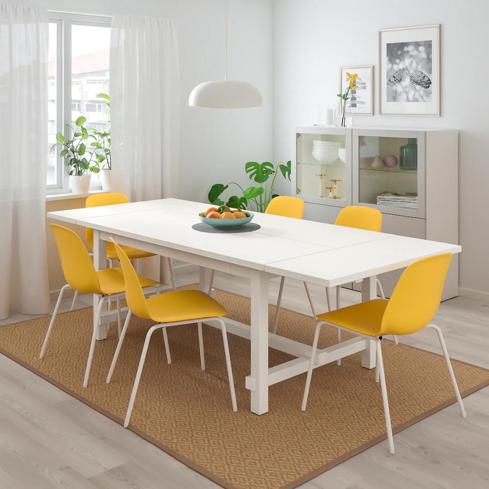 NORDVIKEN / LEIFARNE Table and 4 chairs, white, Broringe