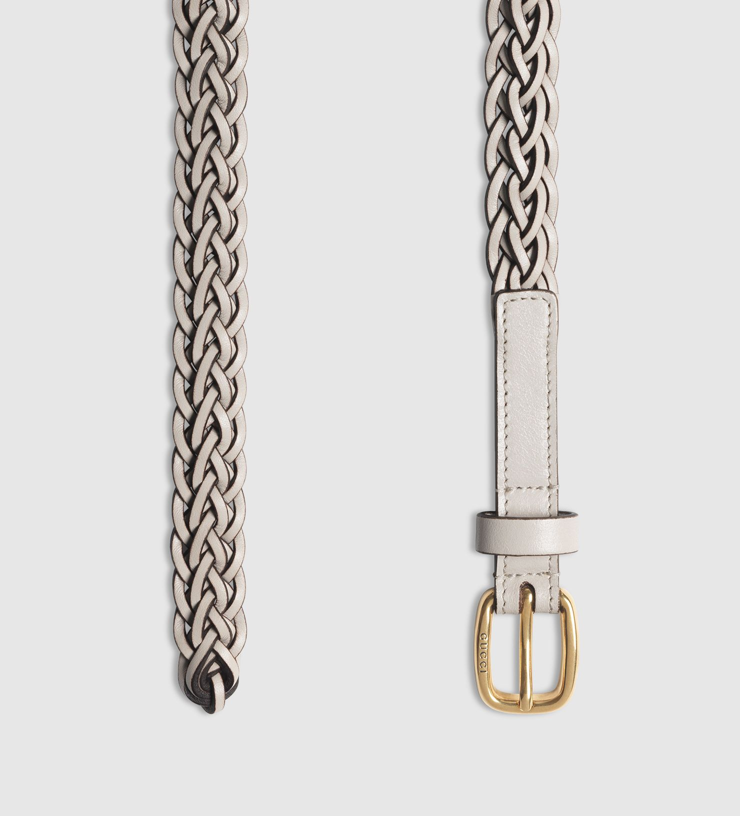 628ff63f674 Gucci Thin Hand-braided Leather Belt in Silver