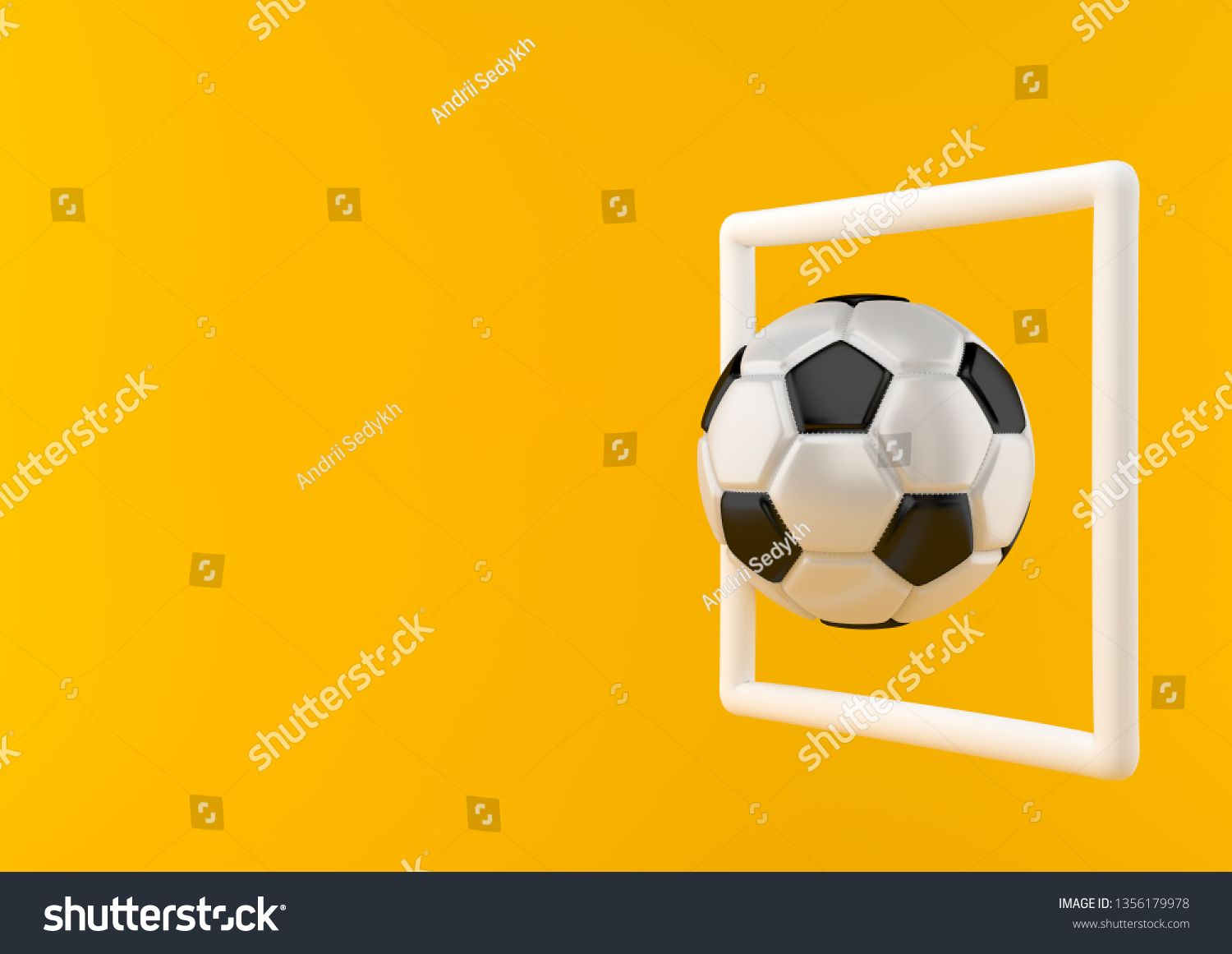 Classic Soccer Ball In The Goal On Bright Yellow Background In Pastel Colors Minimalism Concept Business Card Modern Soccer Ball Professional Business Cards