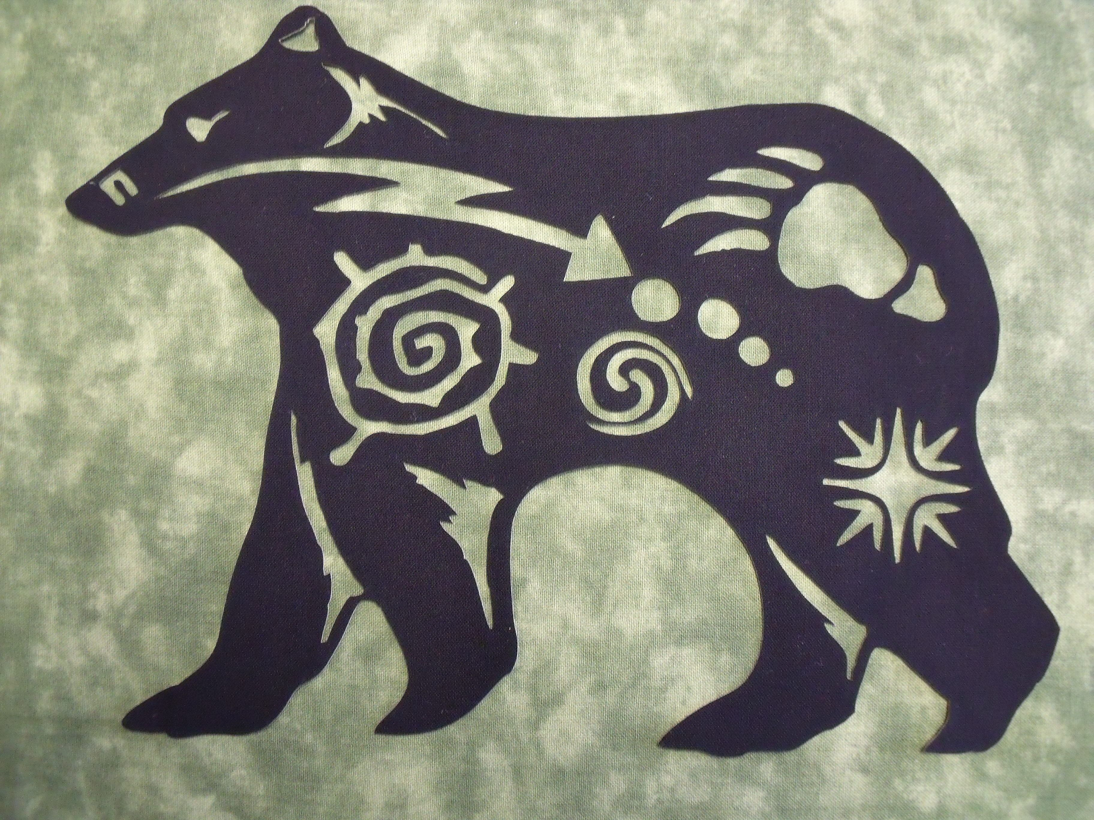 Native American Bear Symbol Silhouette Comes In 3 Sizes 8h 9h