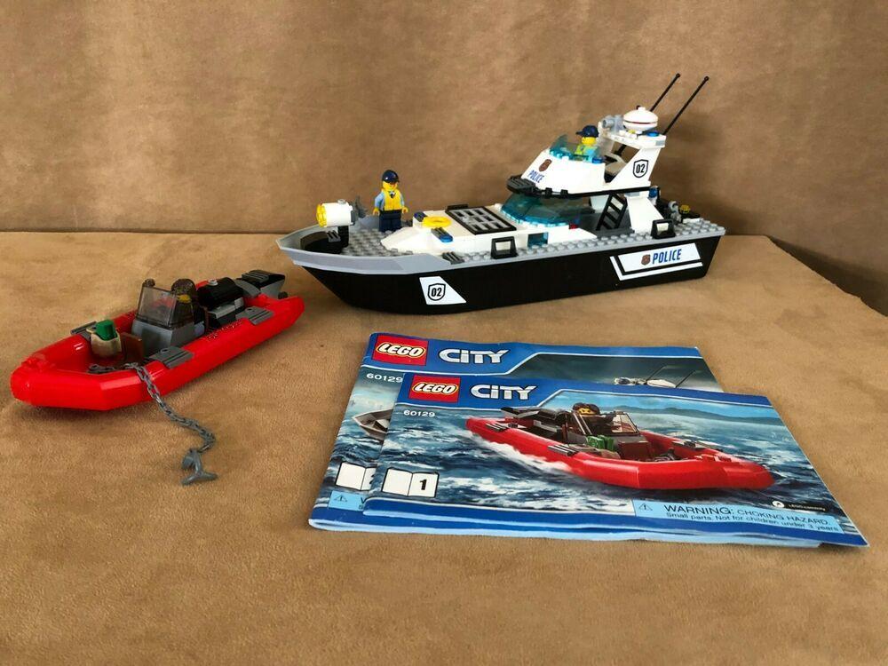 60129 Lego Complete Police Patrol Boat City Raft Minifigures Boat Lego Lego City Police Lego Lego City