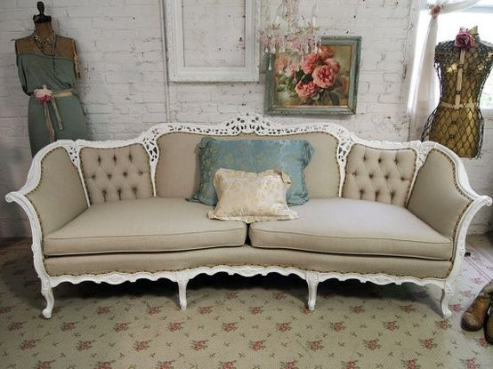 French Provincial Tufted Sofa