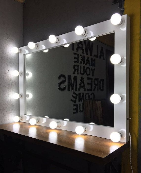 Mirror With Lights White Hollywood Vanity