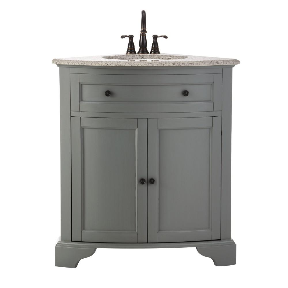 D Corner Bath Vanity in Grey with Granite Top White  Basin 10809 CS30H GR The Home Depot Decorators Collection Hamilton 31