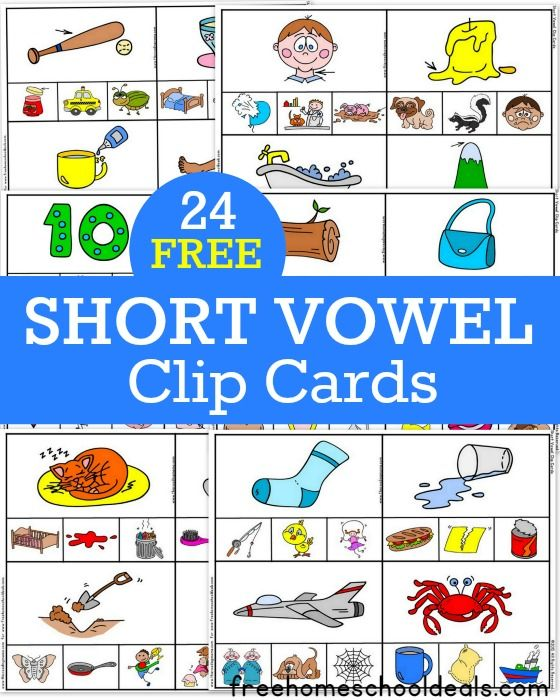 Download Shorter: FREE SHORT VOWEL CLIP CARDS 24 Pack! (instant Download