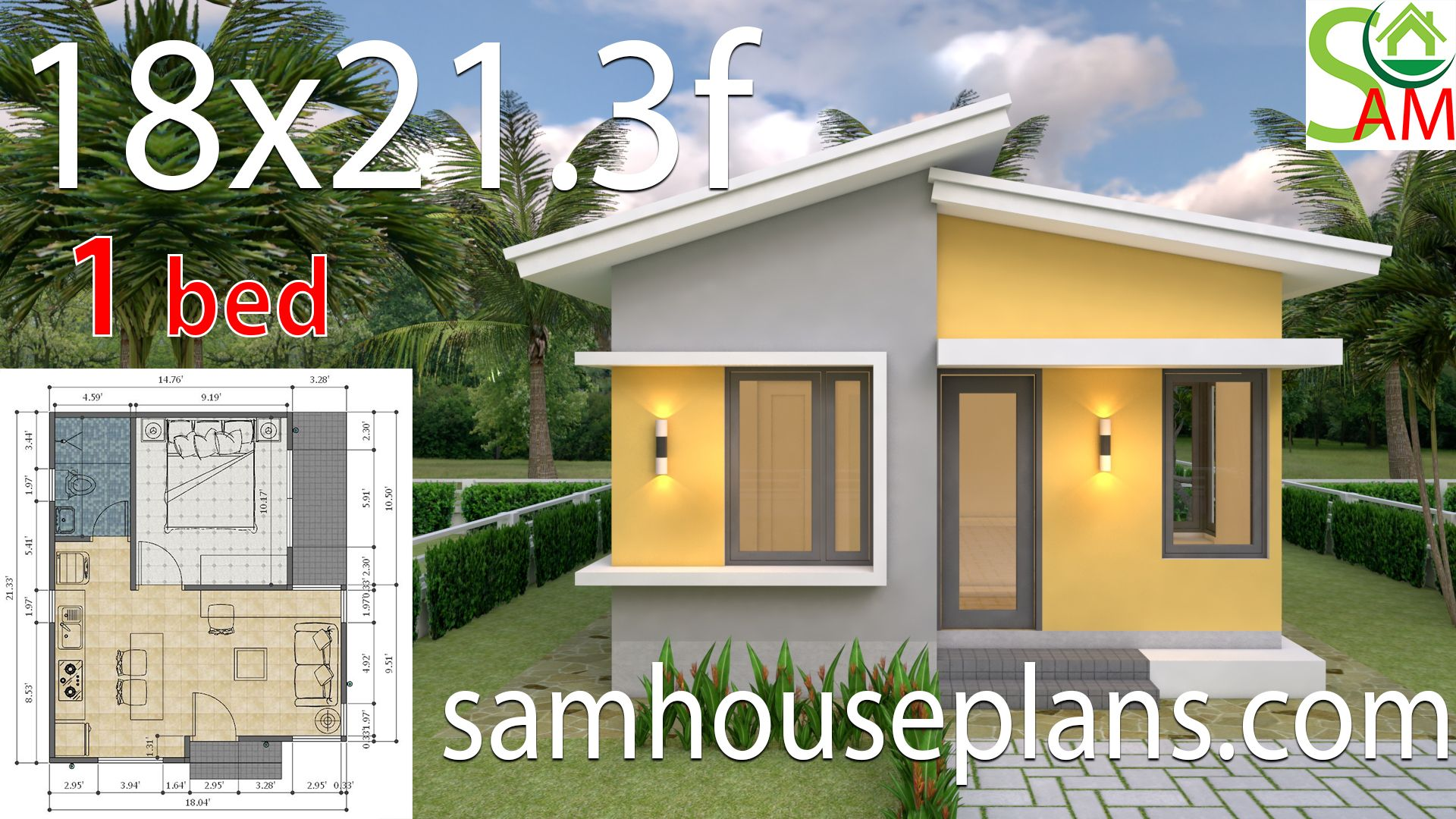 Small House Design Plans 18x21 3 Feet With One Bedroom Shad Roof Sam House Plans Small House Design Plans Small House Design Backyard Guest Houses