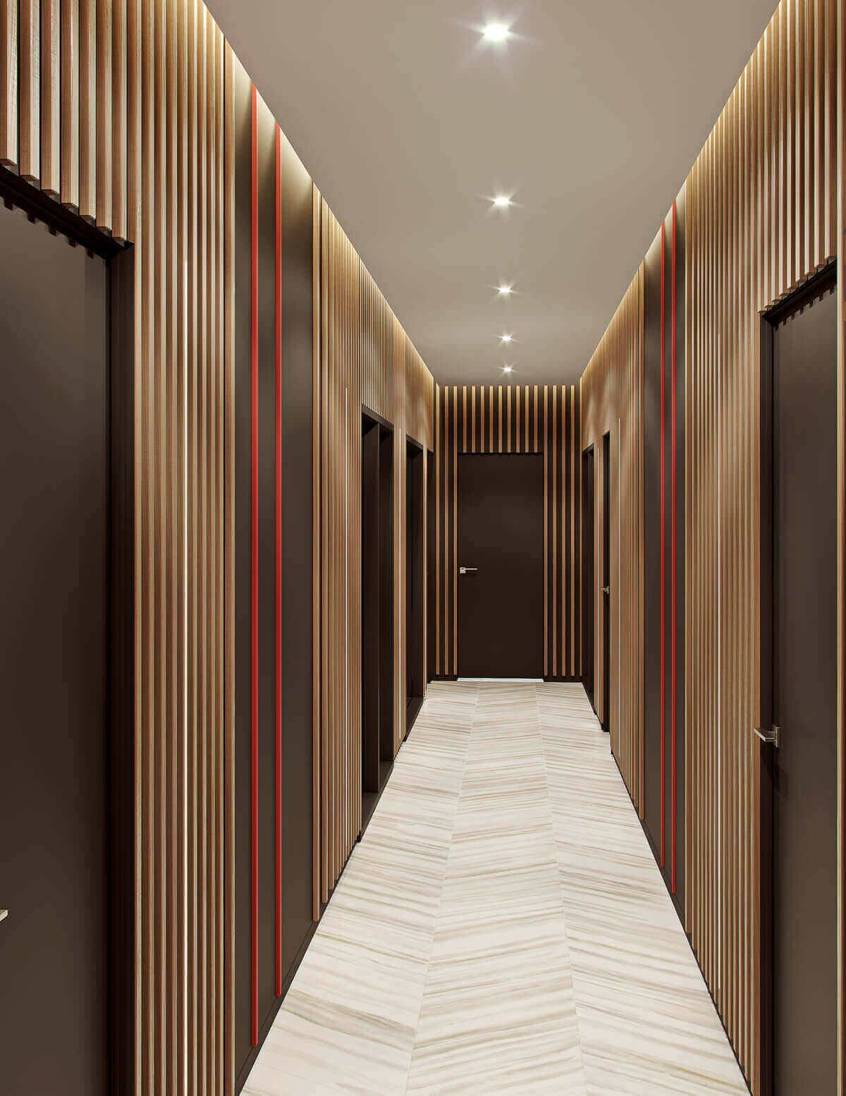 Wood Paneled Office: Vertical Wall Cladding Office