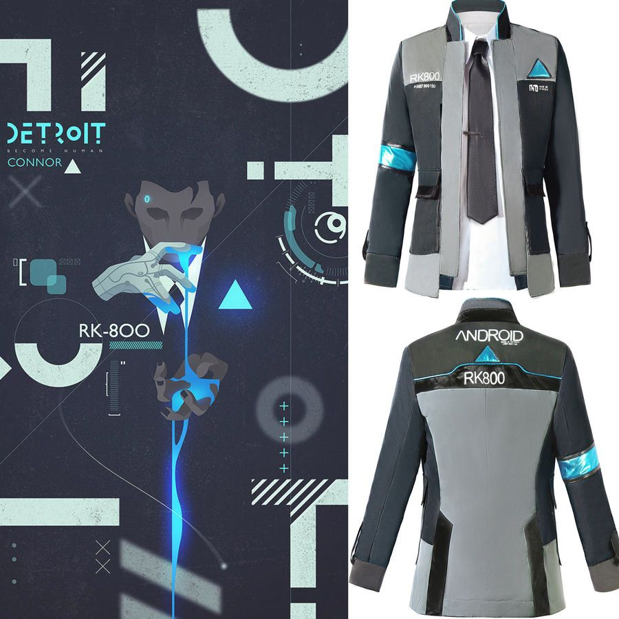 Detroit Become Human Connor RK800 Coat Jacket Cosplay Costume Suit Outfit Men/'s