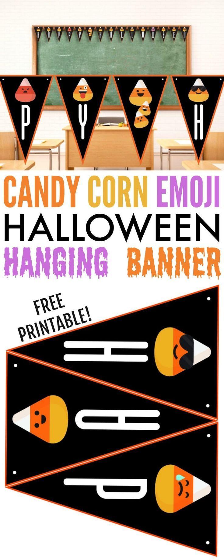Candy Corn Emoji Halloween Printable Banner   Printable ...