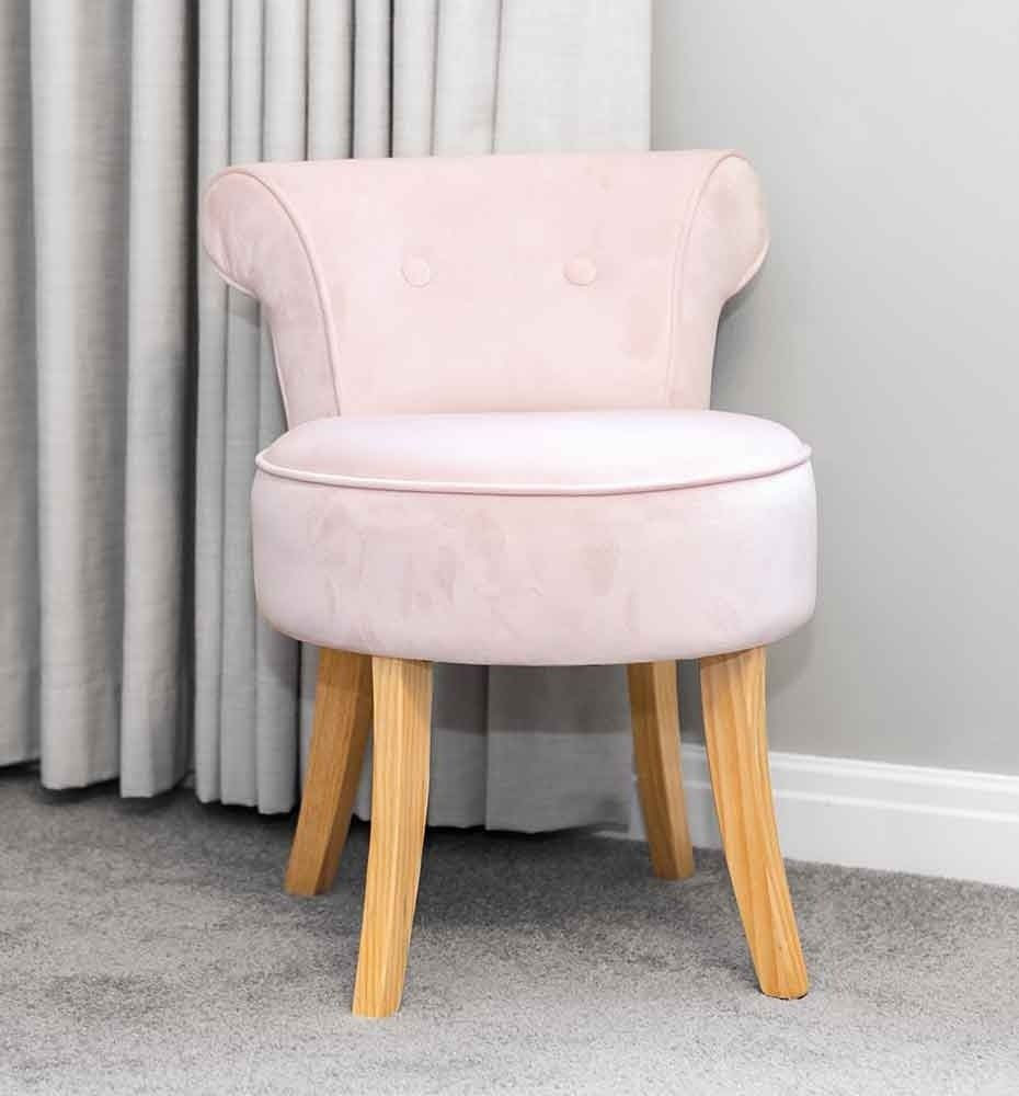 This Stunning Pink Velvet Vanity Stool With Natural Coloured Legs