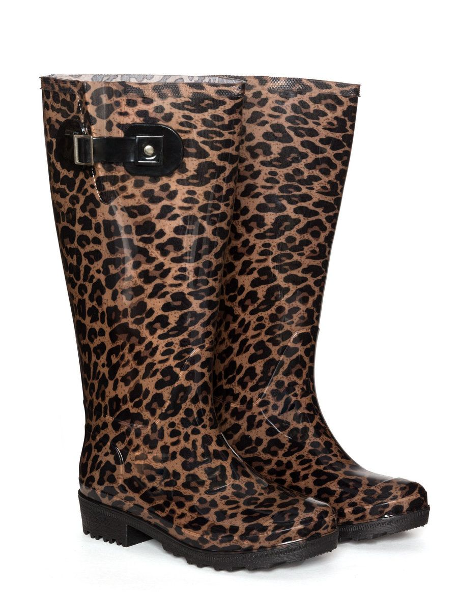 7c87063d0183 JJ Footwear Leopard print wellington boots in Black / Camel | wants ...
