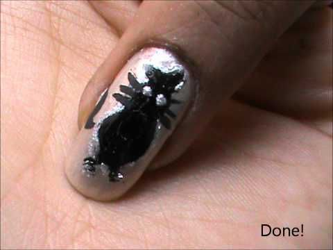 Black Kitty! Beginners  EASY nail designs- how to nail art tutorial beginners - long/short nails